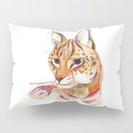Serval wild cat watercolor Pillow Sham