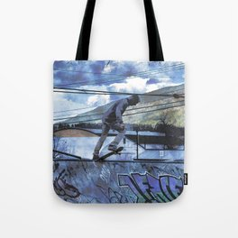 Tipping Point -Skateboarder Launching - Outdoor Sports Tote Bag