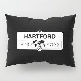 Hartford Connecticut Map GPS Coordinates Artwork with Compass Pillow Sham