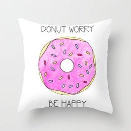 Watercolor Donut Throw Pillow