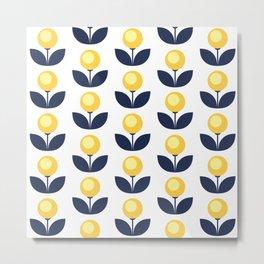 Simple retro flower pattern Metal Print
