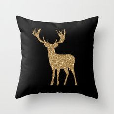 Sparkling golden deer - Wild Animal Animals on #Society6 Throw Pillow