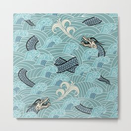 Pattern of water with dragons Metal Print