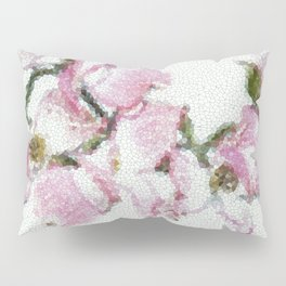 Dogwood Tree Flowers (stained glass-pink&green) Pillow Sham