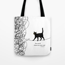 """Friedrich Nietzsche """"You need chaos in your soul"""" black cat literary quote Tote Bag"""