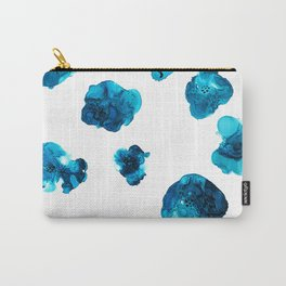 Blue Posy | Flowers | Alcohol Ink Painting | Pattern Carry-All Pouch