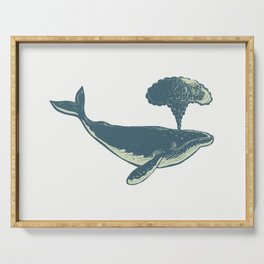 Humpback Whale Blowing Water Scratchboard Serving Tray
