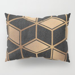 Charcoal and Gold - Geometric Textured Cube Design II Pillow Sham