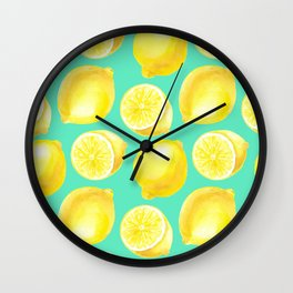Watercolor lemons pattern Wall Clock