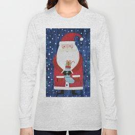 Santa with Stocking Long Sleeve T-shirt