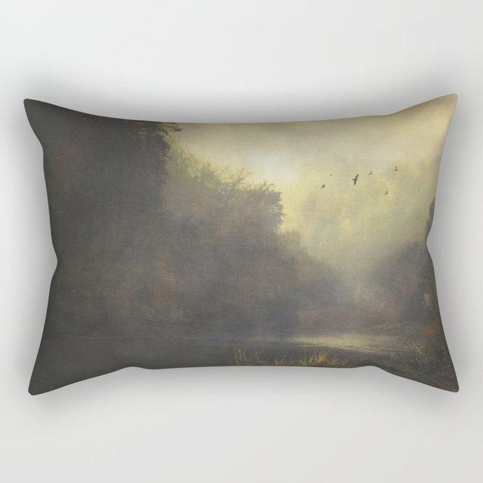 River And Mist Rectangular Pillow