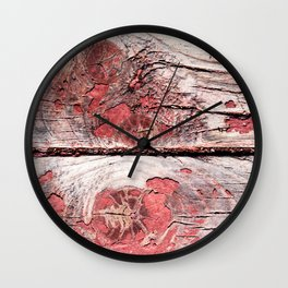 Two Old Wooden Planks, Snugs Or Knots, Crack And Traces Of Red Paint Wall Clock