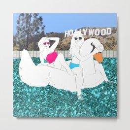 Hollywood Pool Scene Metal Print