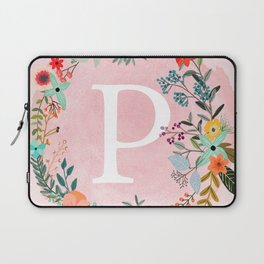 Flower Wreath with Personalized Monogram Initial Letter P on Pink Watercolor Paper Texture Artwork Laptop Sleeve