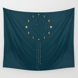 Raining Moon Phases Wall Tapestry