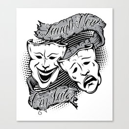 Drama Masks Tattoo Canvas Print