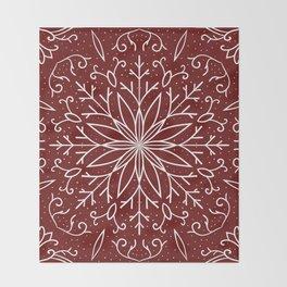 Single Snowflake - dark red Throw Blanket