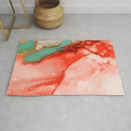 Fluid Coral & Turquoise Rug