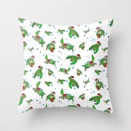 Holiday Sea Turtles Throw Pillow