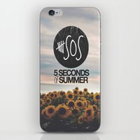 5 seconds of summer iPhone & iPod Skins featuring 5 seconds of summer sunflowers by Rose