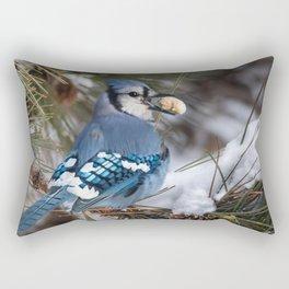 Christmas Blue Jay Rectangular Pillow