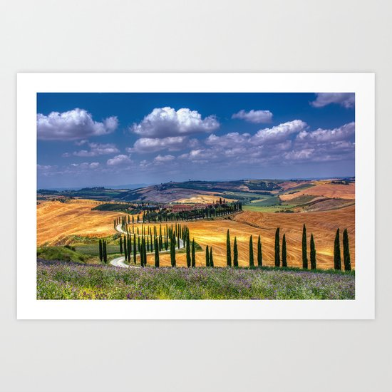 Cypress trees and meadow with typical tuscan house by designastur