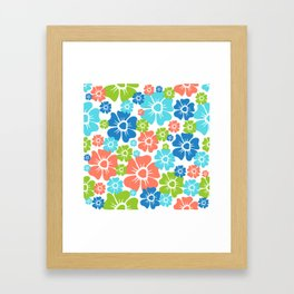 Flowers Spring Orange Blue Green Print Framed Art Print