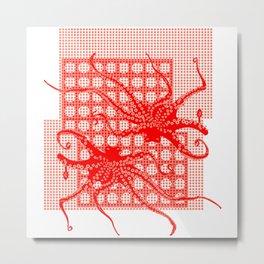 Red Octopus Metal Print