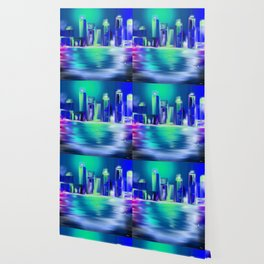 Nuit Blanche Cityscape by night  Town Light Blue Green Wallpaper