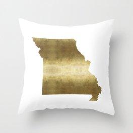 missouri gold foil state map Throw Pillow