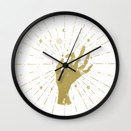 Gold witch's hand with light rays and symbols Wall Clock