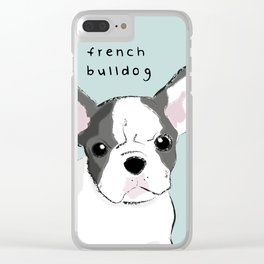 french Bulldog with colour Clear iPhone Case