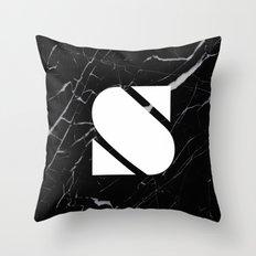 Black Marble - Alphabet S Throw Pillow