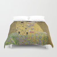 gustav klimt Duvet Covers featuring The Kiss - Gustav Klimt by Elegant Chaos Gallery