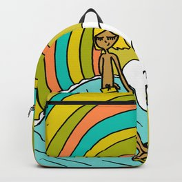 groovy vibes hang 10 by surfy birdy Backpack