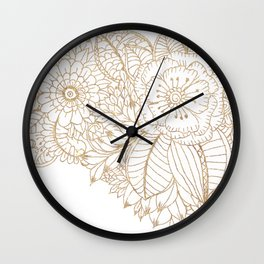 Elegant white faux gold glitter modern floral Wall Clock
