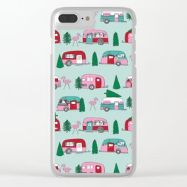 Camper vacation christmas road trip tropical home away from home pattern Clear iPhone Case