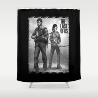 last of us Shower Curtains featuring The Last of Us Joel and Ellie by fardeen