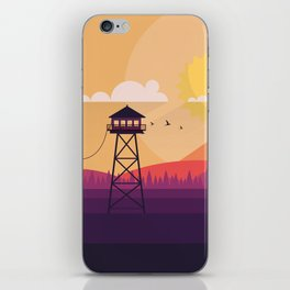 VECTOR ART LANDSCAPE WITH FIRE LOOKOUT TOWER iPhone Skin