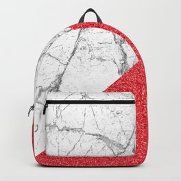 Rose sparkles & white marble Backpack