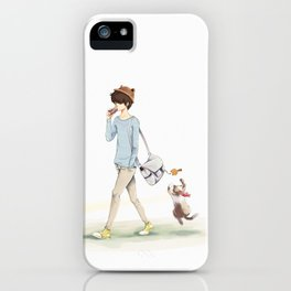 The boy and a cat iPhone Case