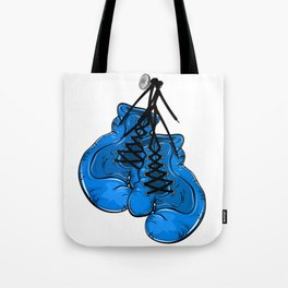 Blue boxing gloves hanging on a nail Tote Bag