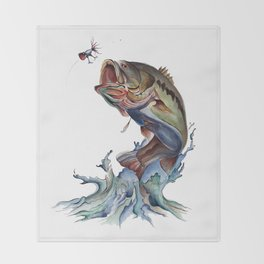 Bass Fish Throw Blanket
