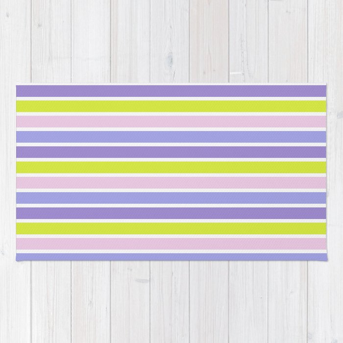 Trendy violet pink yellow modern stripes pattern Rug