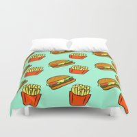 fries Duvet Covers featuring Burgers & Fries by CozyReverie