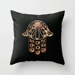 Golden Hamsa Hand On A Black Background #decor #society6 Throw Pillow
