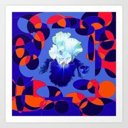 Modern Blue White Iris Orange Saffron Black Design Art Print