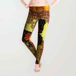 Two Color Abstracted Black-Red  & Orange Monarch Butterflies Leggings