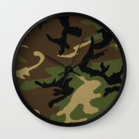 camo Wall Clocks featuring Camo by gypsykissphotography