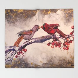 Kissing Cardinals Throw Blanket
